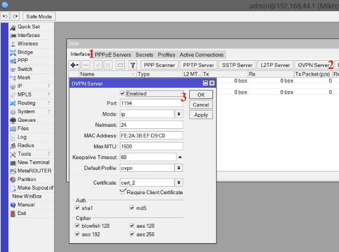Настройки OpenVPN сервера на Микротик