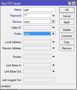 Создание пользователя OpenVPN