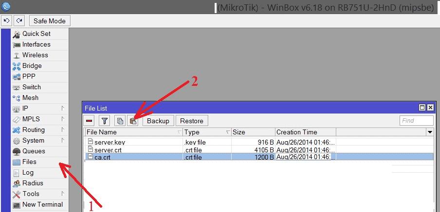 Вставка сертификатов OpenVPN в Winbox MikroTik