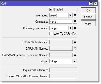 Активация режима CAP на точке доступа