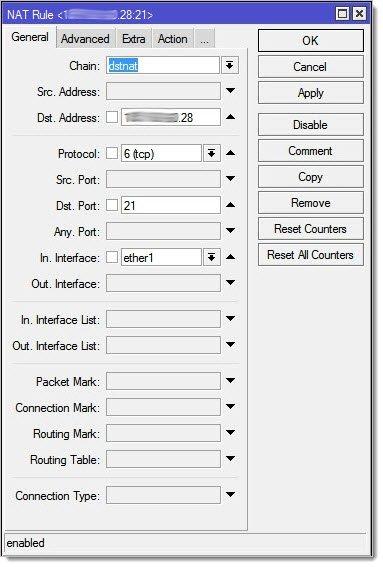 Проброс портов для FTP Mikrotik