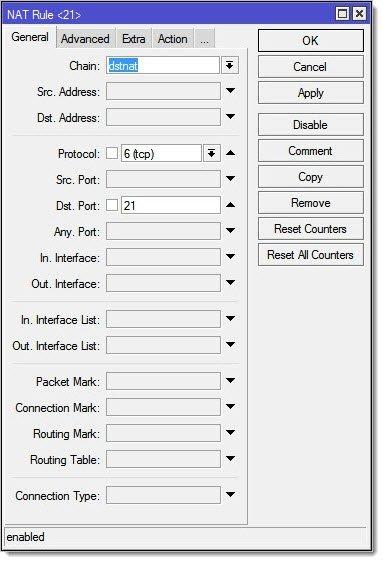 Проброс портов для FTP с использованием Dst. Address Type = local