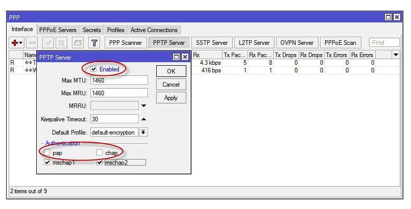 Включение VPN PPTP сервера