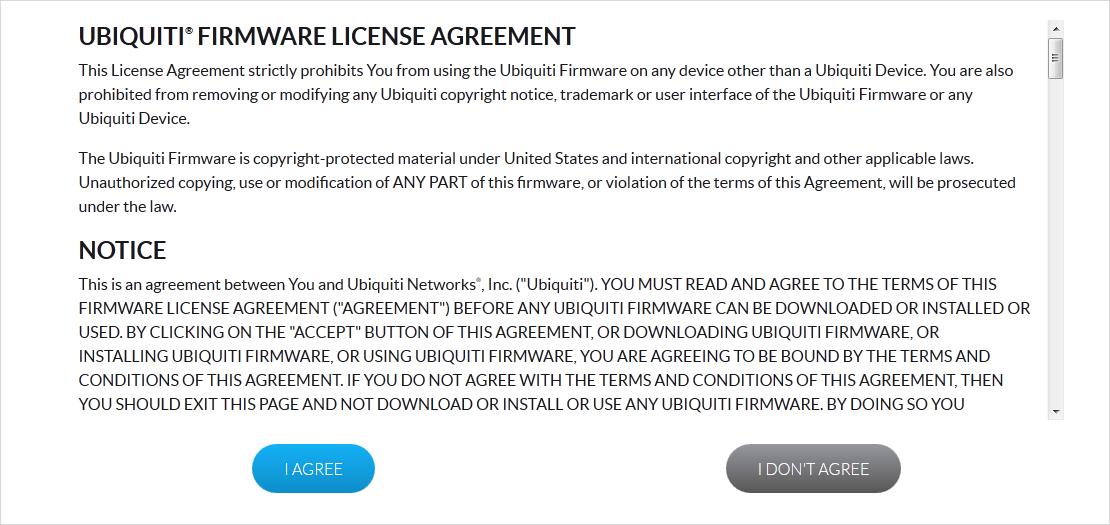 Лицензионное соглашение обновления прошивки UBNT