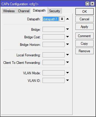cAP configuration - вкладка Datapath