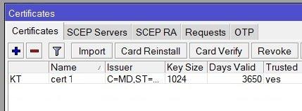 Импорт сертификата клиента OpenVPN