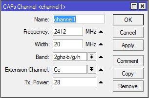 Вкладка Channel