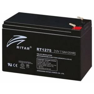 Аккумуляторная батарея AGM RITAR RT1275B, Black Case, 12V 7.5Ah  (151х65х93 (98) мм) Q10